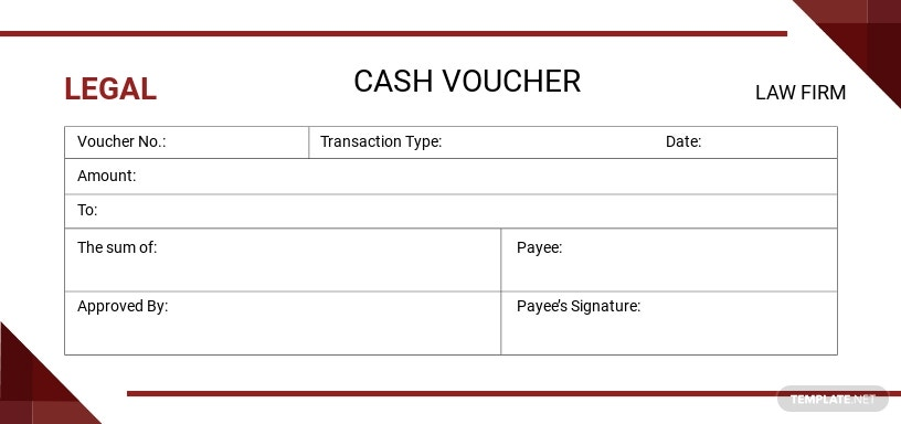 Legal Cash Voucher Template