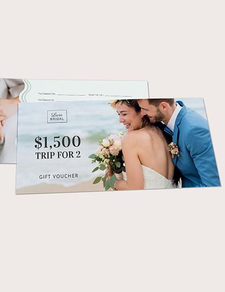 Sample Elegant Wedding Gift Voucher