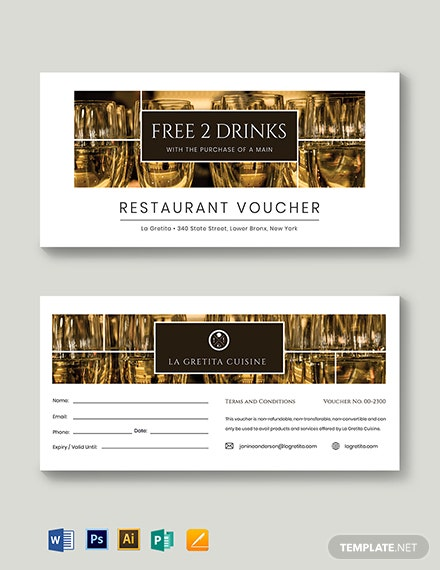 restaurant drink voucher template 2
