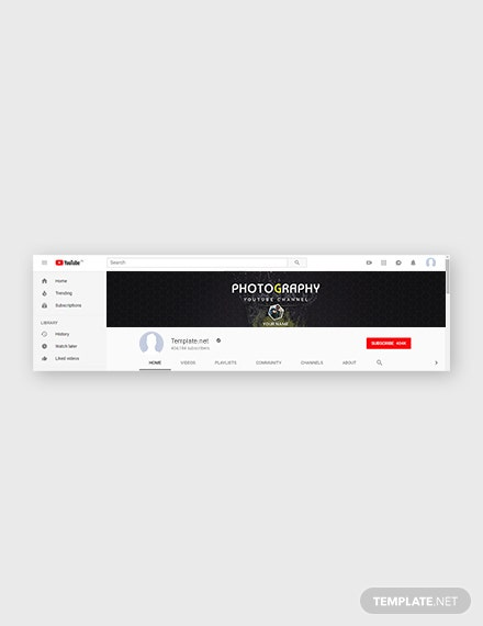 Free YouTube Channel Photography Art Template