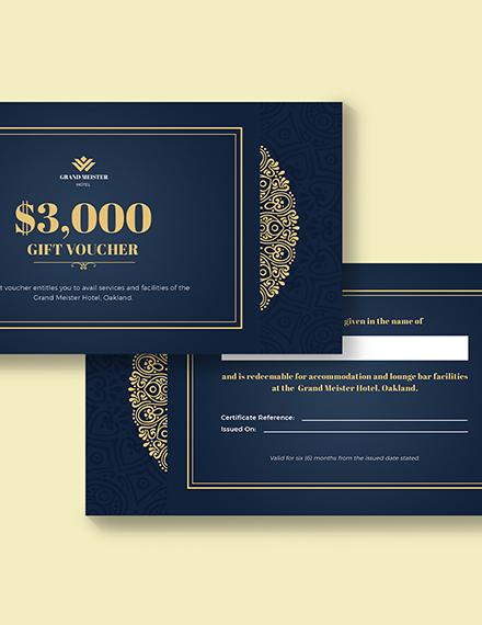 Sample Hotel Wedding Gift Voucher