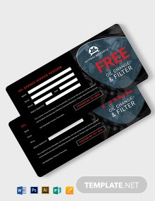 Oil Change Service Voucher Template
