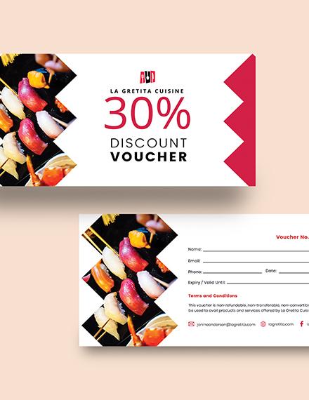 Sample Printable Restaurant Voucher