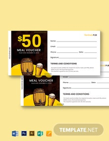 Pub Food Voucher Template
