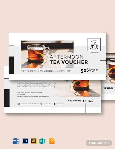Restaurant Afternoon Tea Voucher Template