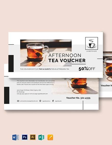 Restaurant Afternoon Tea Voucher Template