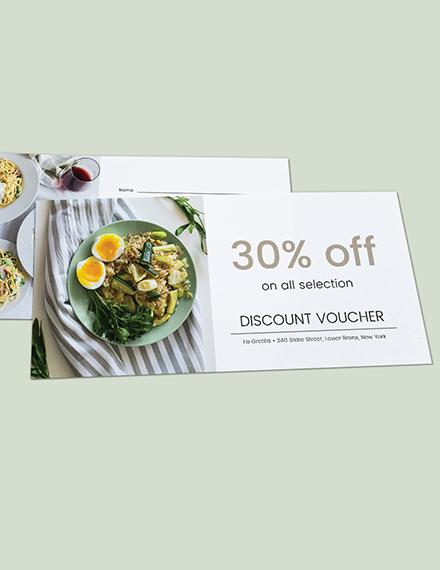 Sample Restaurant Gift Voucher Card