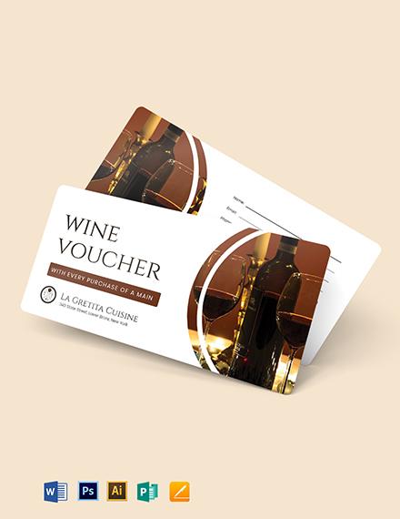 Restaurant Wine Voucher Template
