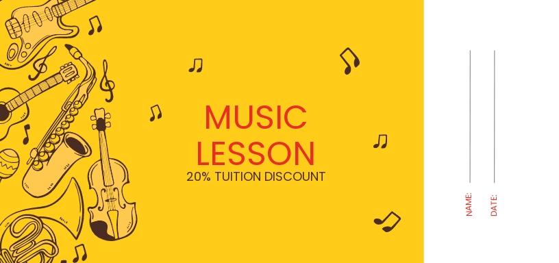 Music Lesson Voucher Template