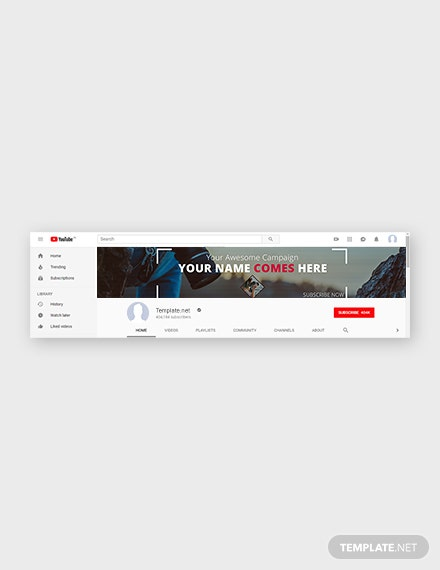 Free YouTube Channel Art Photography Template