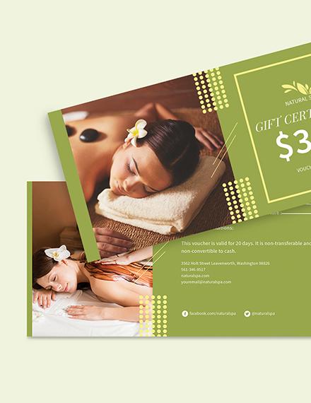 Sample Spa Gift Voucher card