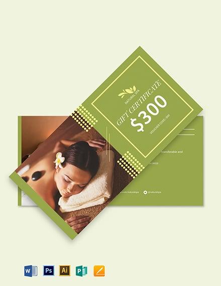 Spa Gift Voucher card Template