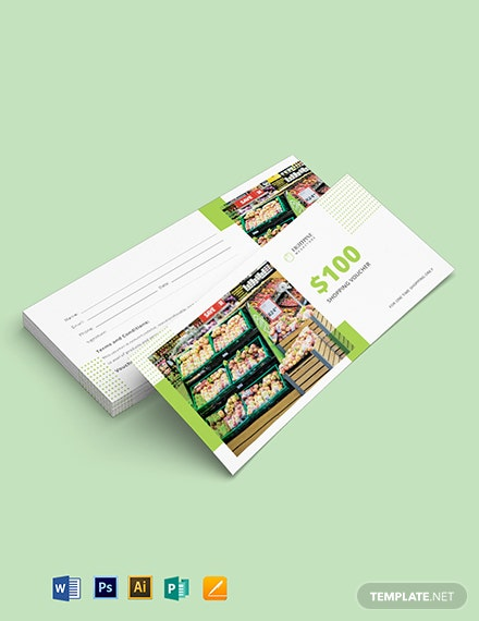 Supermarket Shopping Voucher Template