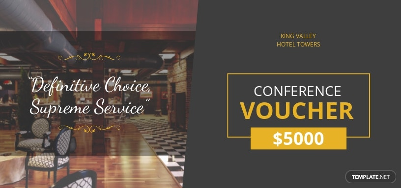 Conference Hotel Voucher Template [Free JPG] - Illustrator, Word, Apple Pages, PSD, Publisher