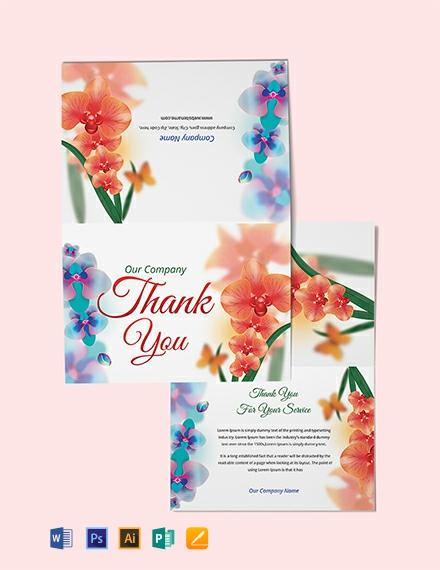 Free Bi-fold Thank You Card Template