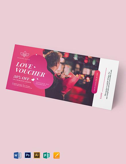 Personalized Romantic Love Voucher Template