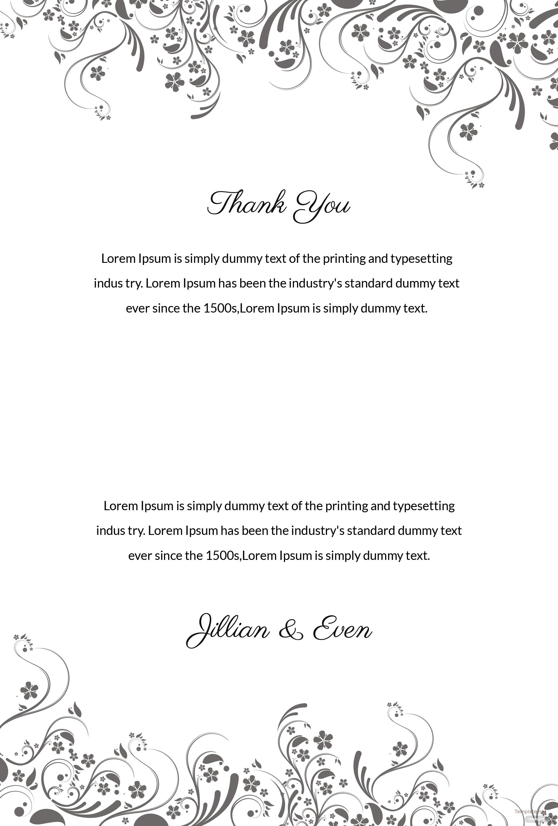 Free Wedding Thank You Card Template in Adobe Photoshop Illustrator