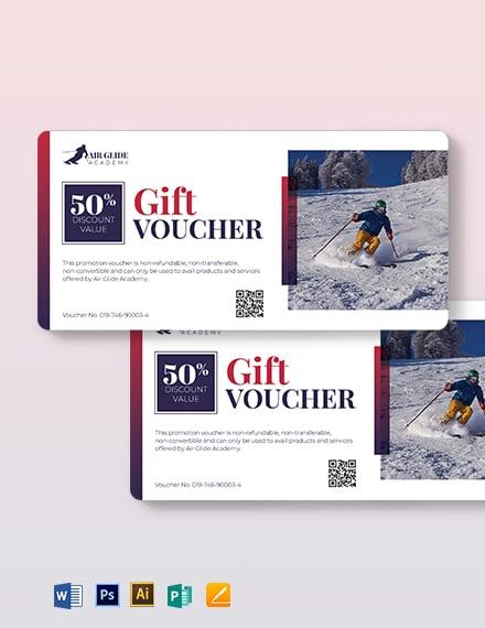 Skii Sports Voucher Template