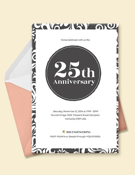 25th Anniversary Invitation Template