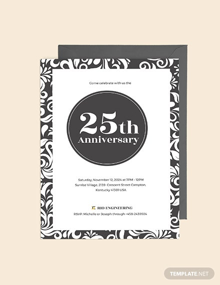 Sample th Anniversary Invitation
