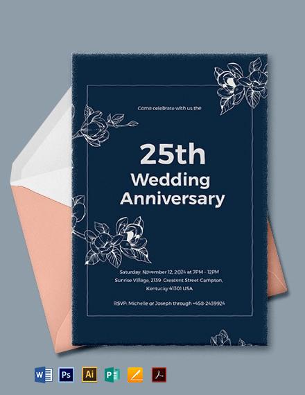 25th Wedding Anniversary Invitations Template
