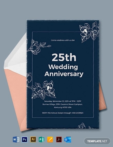 25th Wedding Anniversary Invitations Template