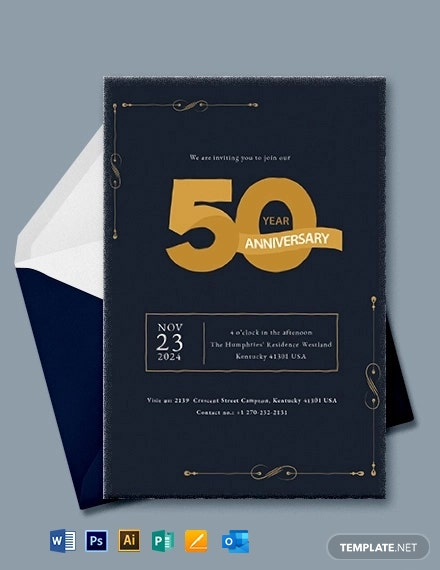 Simple 50th Wedding Anniversary Invitation Template