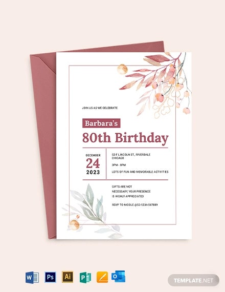80th Birthday Invitation Template