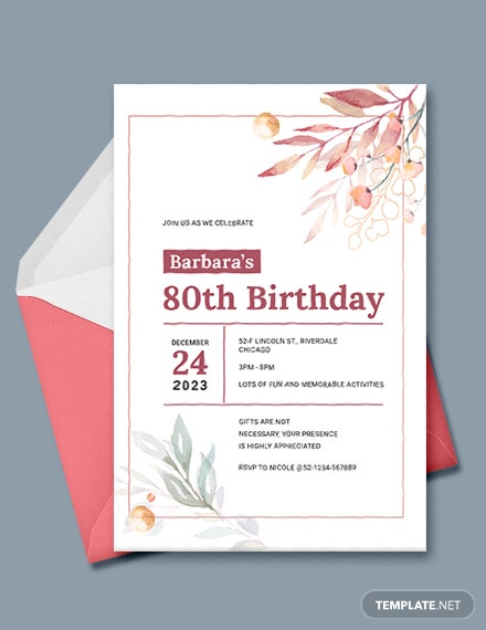 80th Birthday Invitation Template