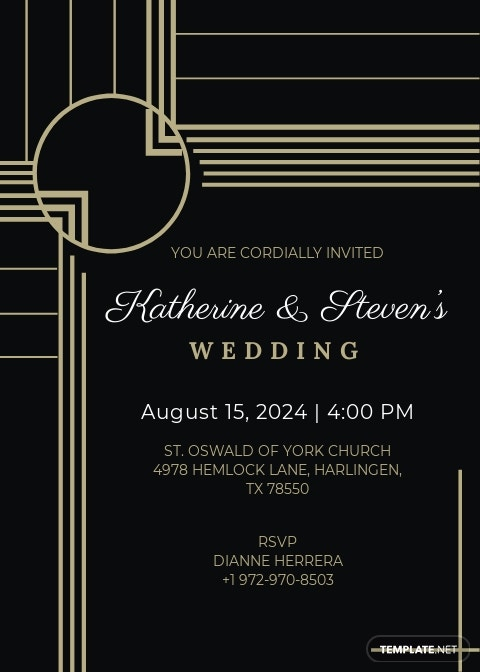 Printable Art Deco Wedding Invitation Template