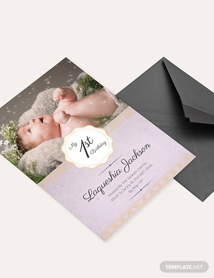 Baby Girl st Birthday Invitation Download