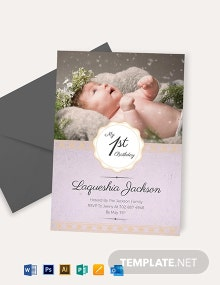 Baby Girl 1st Birthday Invitation Template
