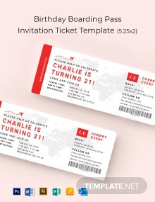 Birthday Boarding Pass Invitation Ticket Template