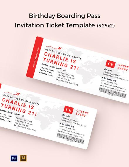 Birthday Boarding Pass Invitation Ticket Template
