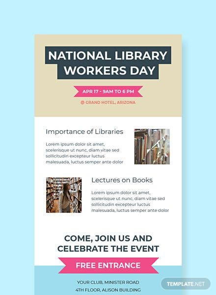 Free National Library Worker's Day Email Newsletter Template