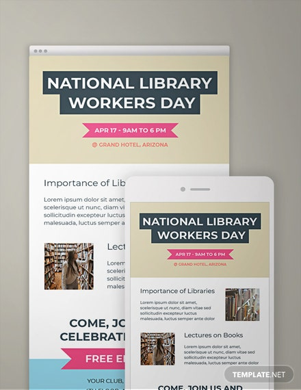 Free National Library Workers Day Email Newsletter Template