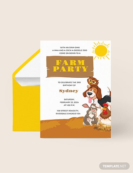 Farm Party Invitation Download