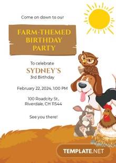 Farm Party Invitation Template