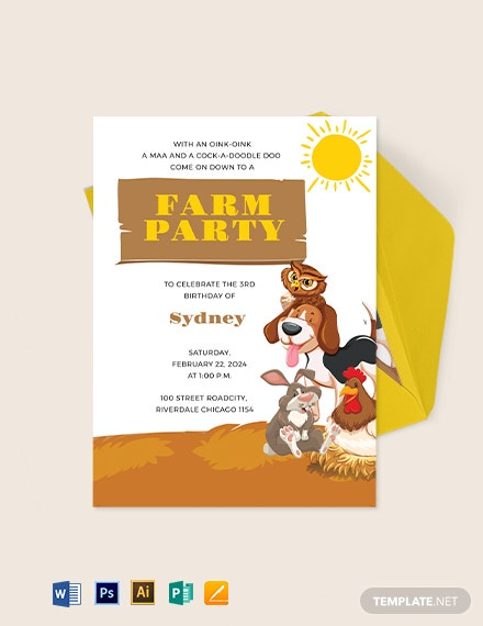 Farm Party Invitation Template