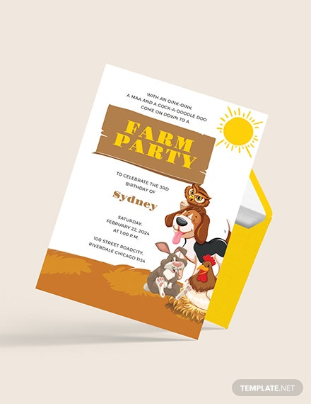 Sample Farm Party Invitation