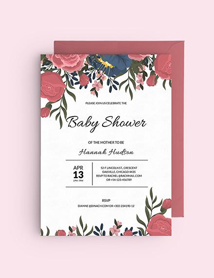 Floral Baby Shower Invitation Download