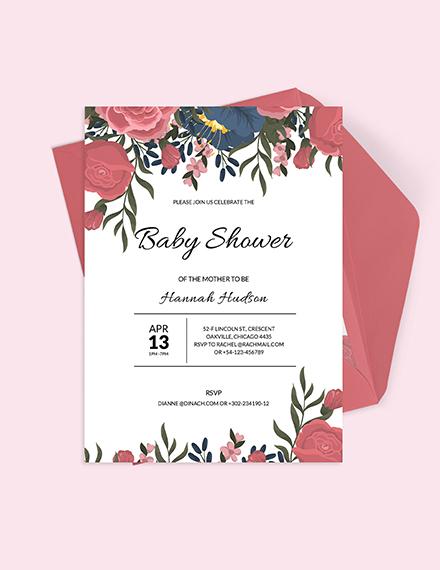 Sample Floral Baby Shower Invitation