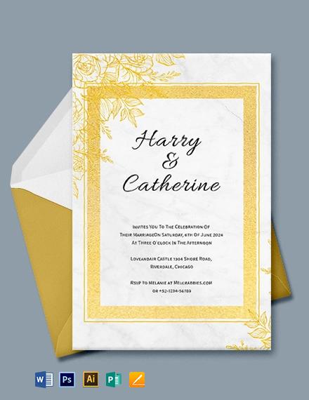 Foil Wedding Invitation Template