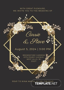 Gold Wedding Invitation Template