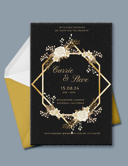 Gold Wedding Invitation Template