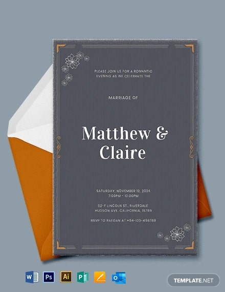 Letterpress Wedding Invitation Template