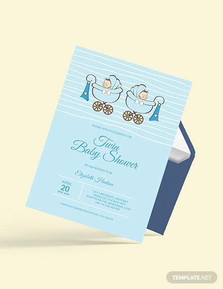 Sample Twin Baby Shower Invitation