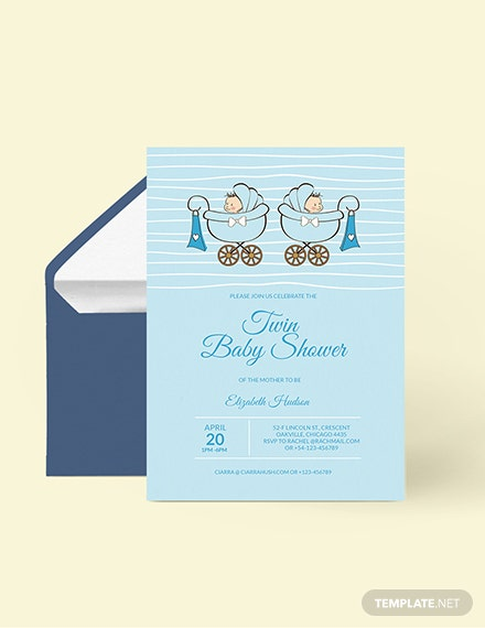 Twin Baby Shower Invitation Download