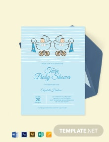 Twin Baby Shower Invitation Template
