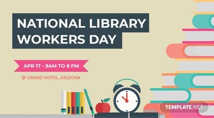 Free National Library Worker's Day Facebook App Cover Template